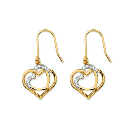 White Diamond Accent Pave-Style Intertwined Double Heart Drop Earrings 14k Gold-Plated (Diamond Double Heart Earrings)