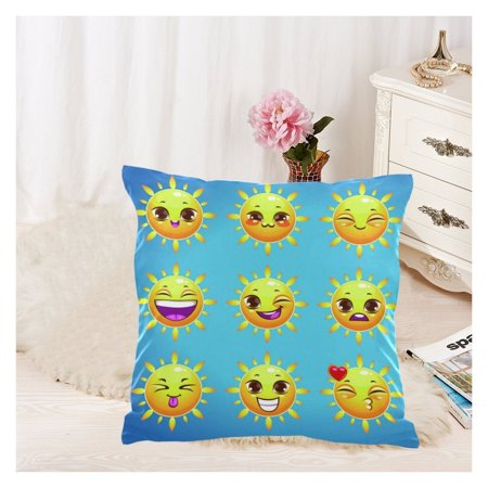 ZKGK Cartoon Poop Emoji Smiley Face Emoticon Zippered Cushion Pillowcase 18 x 18 ( Twin Sides ),Summer Sunny Face Emoji Pillow Cases Cover Set Shams Decorative for Couch Bed - Smiley Face Cushion