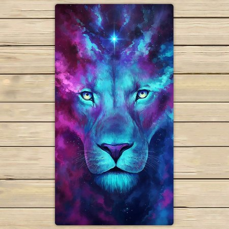 GCKG Galaxy Lion Towels,Galaxy Lion Beach Bath Towels Bathroom Body Shower Towel Bath Wrap For Home,Outdoor and Travel Use Size 30x56 inches