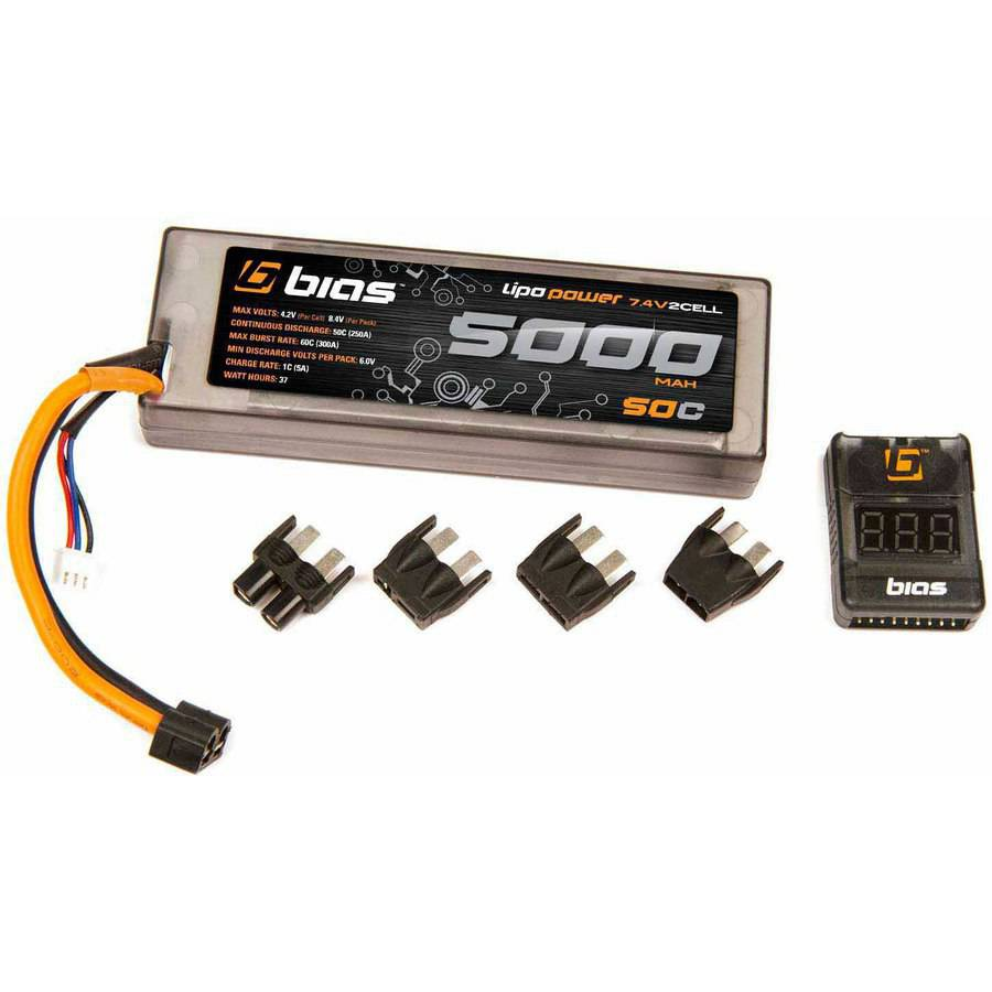 Bias 50C 2S 5000mAh 7.4V LiPo Hard Case Battery UNI Plug (EC3/Deans/Traxxas/Tamiya) for RC Car, Truck, Buggy, Boat, Heli, and Drone
