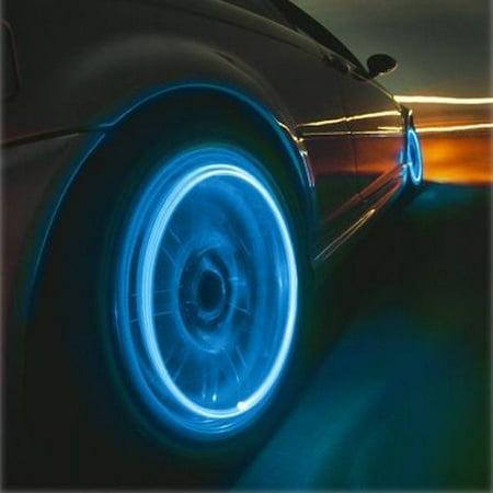 4x Vehicle Non-Flashing Tire Valve Stem Caps LED Lights 4-Piece Kit