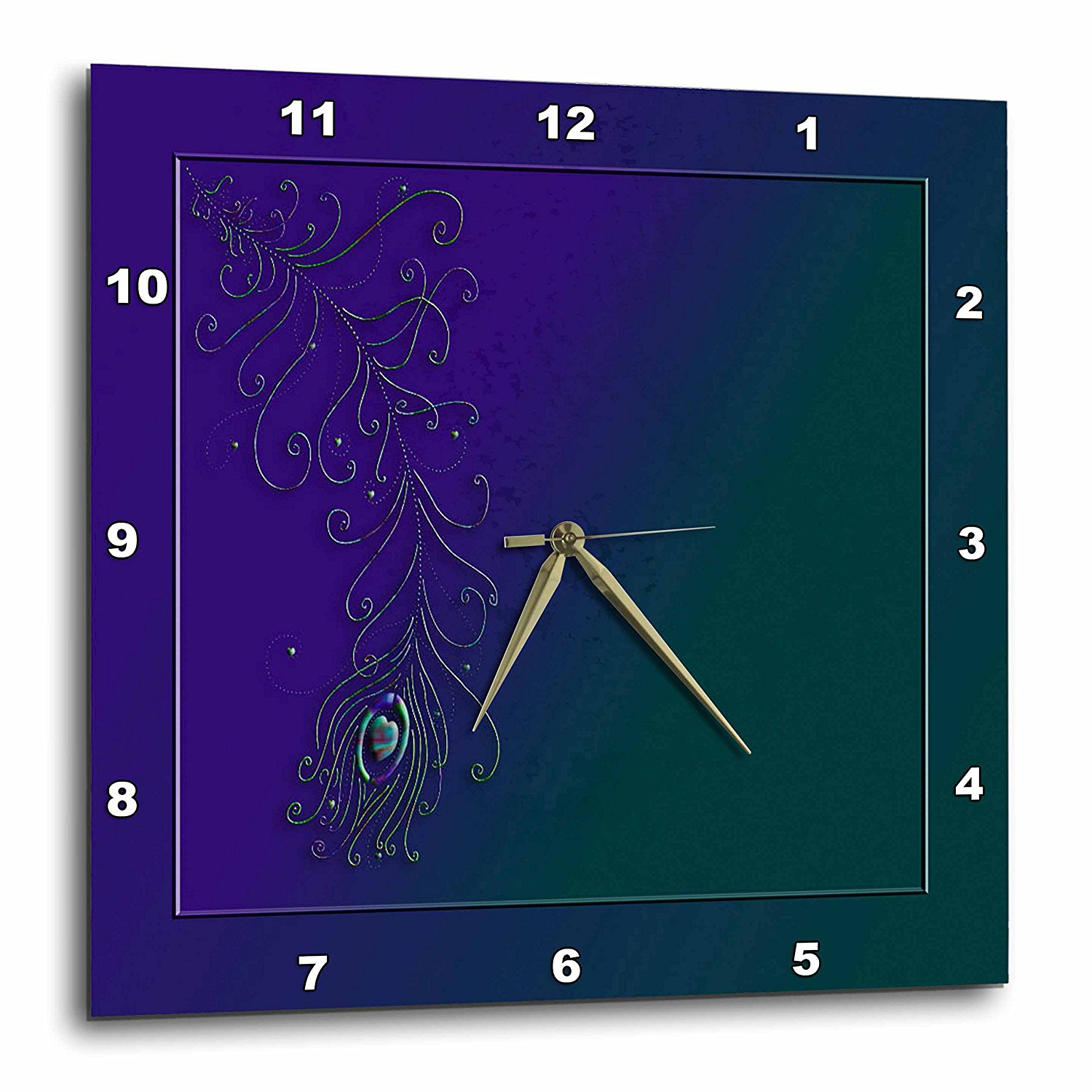 3dRose Peacock Feather, Teal and Purple, Wall Clock, 15 by 15-inch
