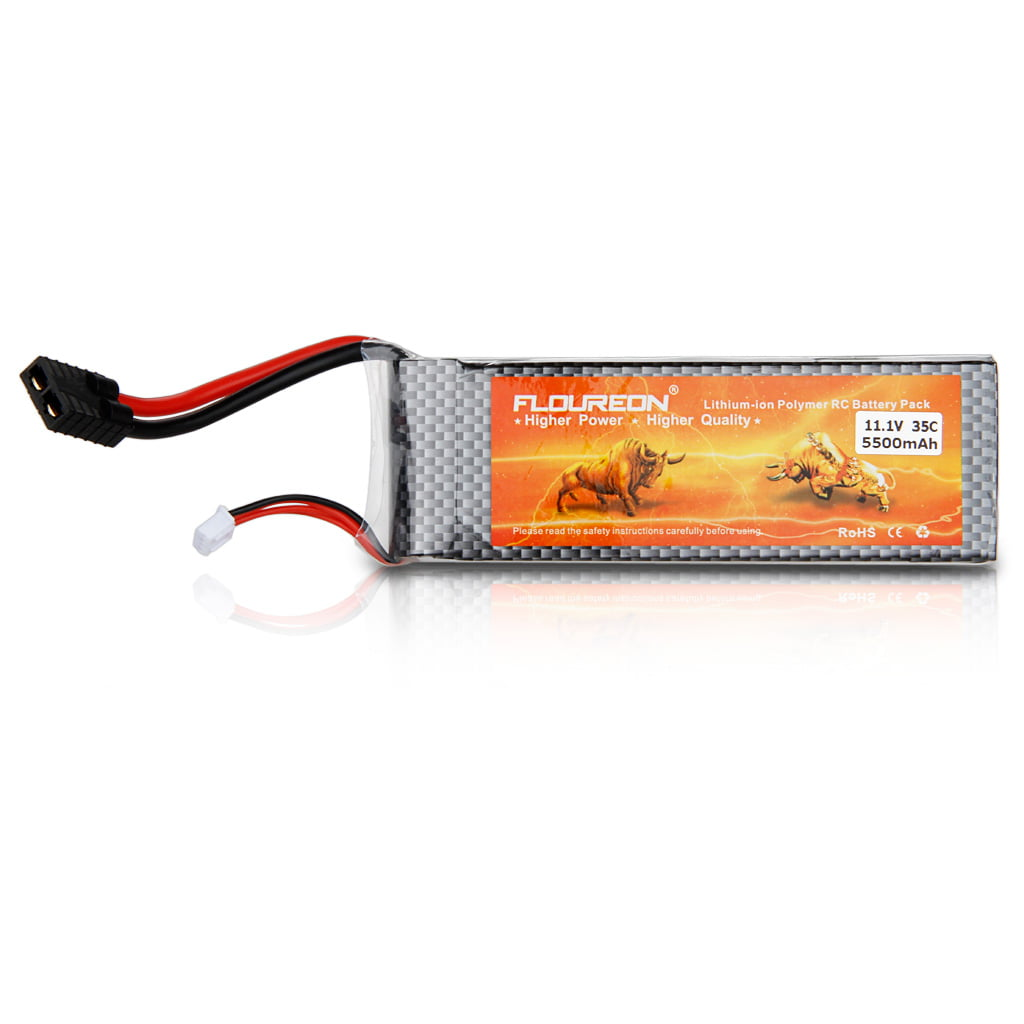 Floureon11.1V 5500mAh 3S 35C Lipo RC Battery TRX Traxxas Plug for RC Helicopter Hobby by