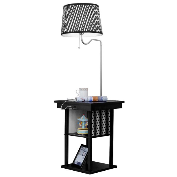 Gymax Floor Lamp Swing Arm Lamp Built In End Table W Shade 2 Usb