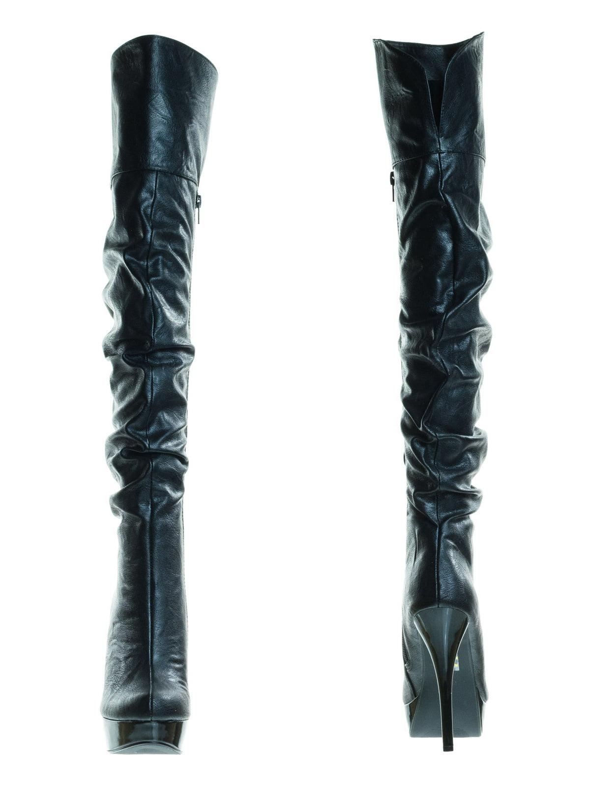 Praise by Speed Limit 98, Over-The-Knee OTK Dress Boots w High Heel & Platform & Slouch Shaft