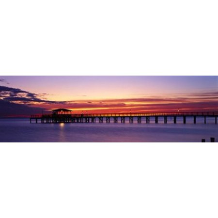 Sunset Mobile Pier AL USA Stretched Canvas - Panoramic Images (38 x 12) ()