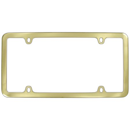 Logo Solid Brass License Plate (Thin Rim Only Solid Brass 4 hole License Plate Frame (Brass))