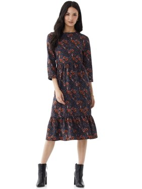Scoop Womens Tiered Maxi Dress, Navy Boho Paisley