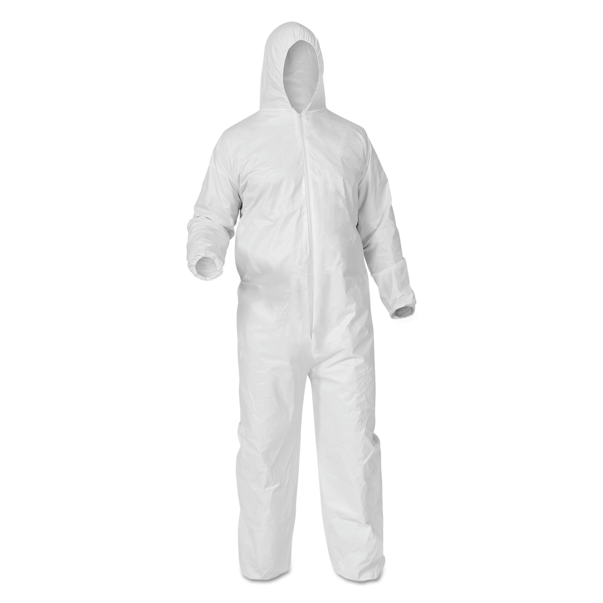A35 Coveralls, Hooded, Large, White, 25 Per Carton by Kimberly Clark