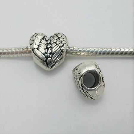- 3 Beads - Angel Heart Wings Silver Tone European Bead Charm E1586