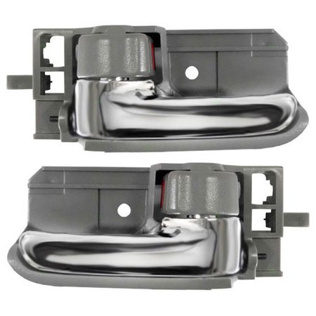 Driver and Passenger Inside Inner Grey & Chrome Door Handles Replacement for Toyota 69206-02090-BO 69205-02090-BO