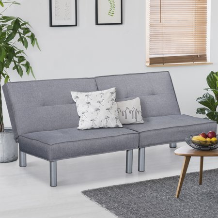 GranRest Futon Couch Bed with Microfiber Upholstery and Metal Legs, (Metal Soda)