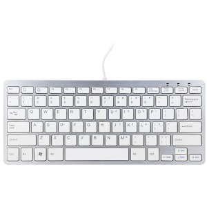 R-GO Compact Ergonomic USB Wired Keyboard - Silver, White