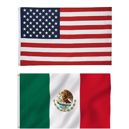 G128 - Wholesale LOT of 3' X 5' USA AMERICAN & 3' x 5' ft MEXICO Mexican Flag](Mexian Flag)