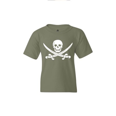 Shop4Ever Youth Pirate Flag Skull Scimitars Graphic Youth T-Shirt](Frilly Pirate Shirt)