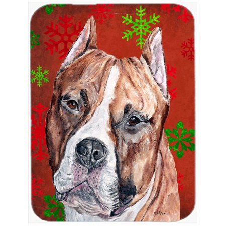 Staffordshire Bull Terrier Staffie Red Snowflakes Holiday Mouse Pad, Hot Pad or Trivet SC9752MP