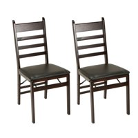 COSCO Ladder Back & Vinyl Seat Wood Folding Chair, Espresso, 2-Pack