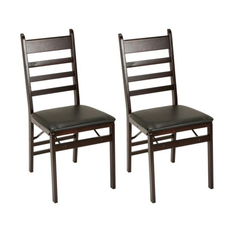 COSCO Ladder Back & Vinyl Seat Wood Folding Chair, Espresso, 2-Pack Cane Back Folding Chairs