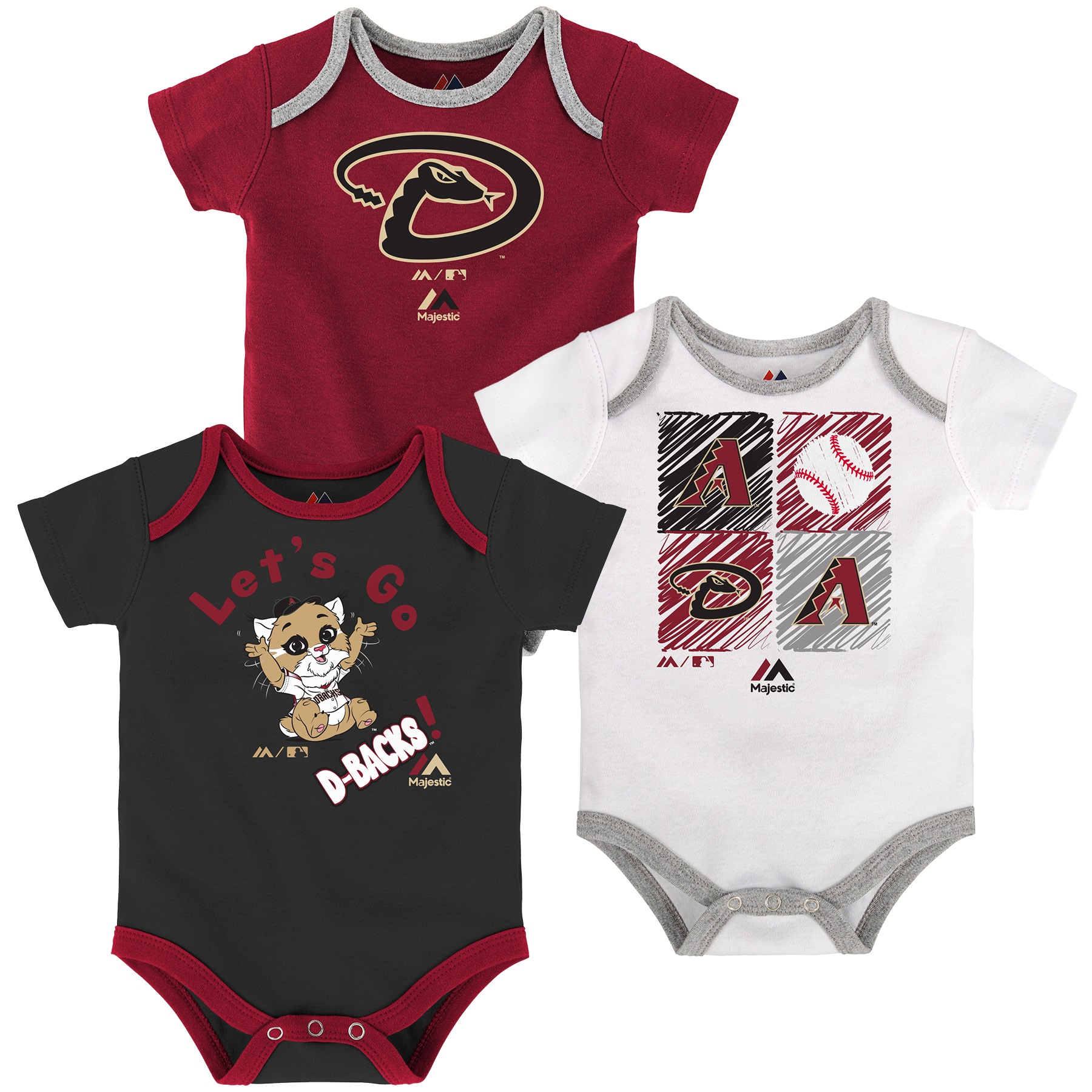 Arizona Diamondbacks Majestic Newborn & Infant Go Team 3-Pack Bodysuit Set - Red/Black/White