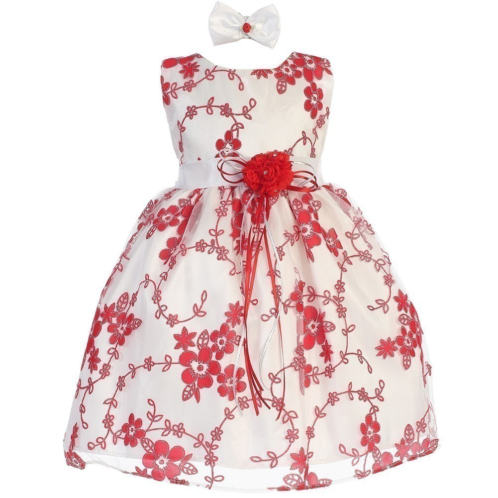 Baby Girls White Red Floral Embroidered Hair Bow Flower Girl Dress 12-18M