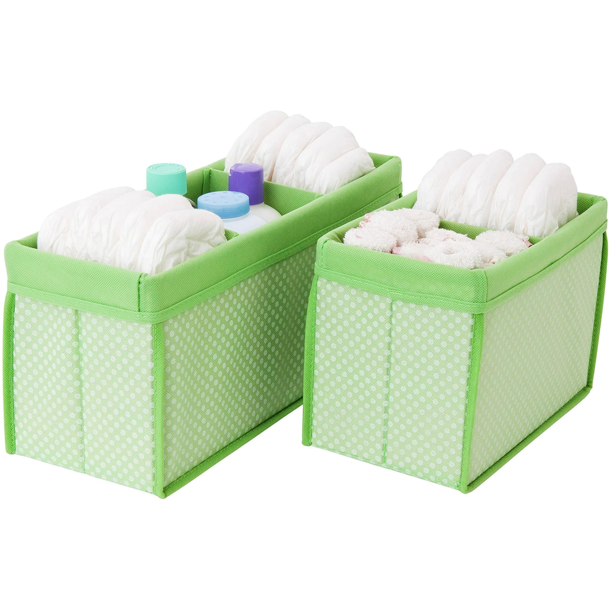 Nursery Organizer Bins, Set of 2, Hush Green