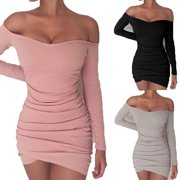 Women Off The Shoulder Sexy Tight Short Dress Long Sleeves