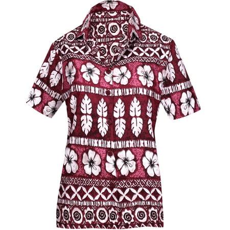 LA LEELA Women's Beach hawaiian button down blouse casual tank top aloha Shirt Red_W922 (Women's Hawaiian Blouses)