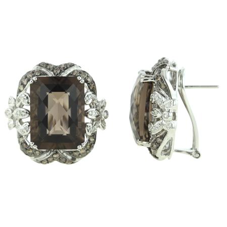14K White Gold 22.81ct Bezel Brown Diamond & Octagon Smoky Topaz Stud Earrings