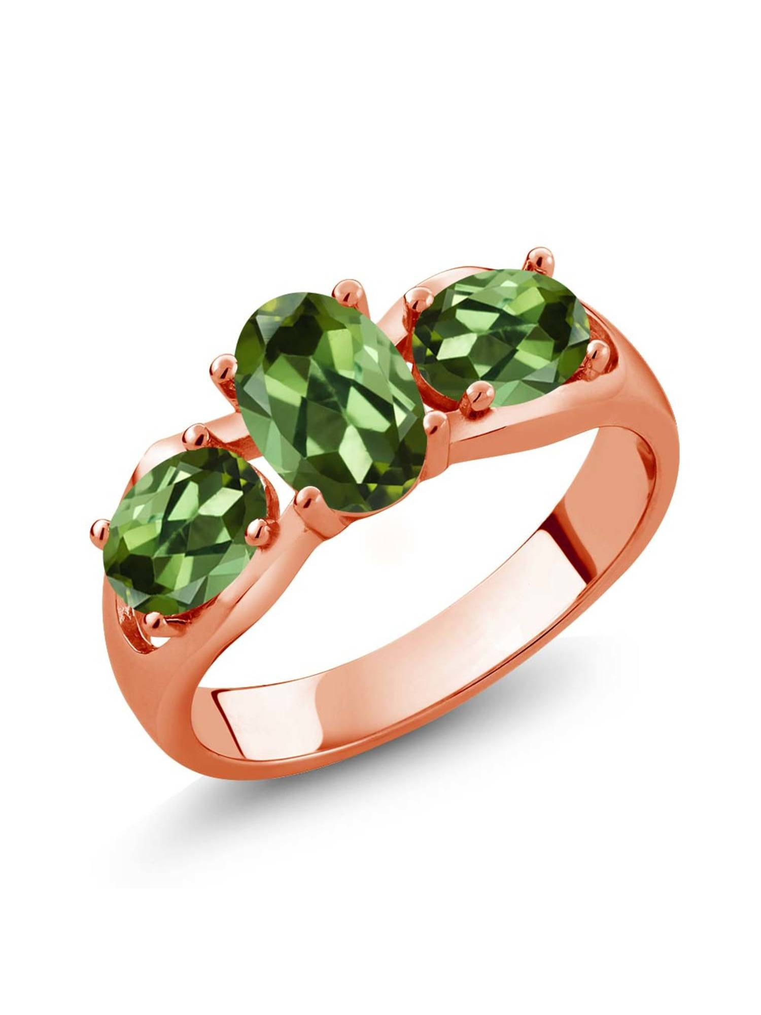 1.70 Ct Oval Green Tourmaline 18K Rose Gold Plated Silver Ring by