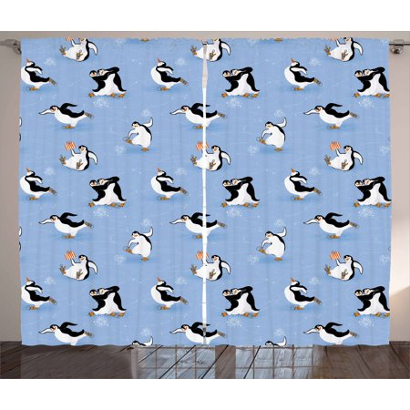 Cartoon Animal Curtains 2 Panels Set, Skating Funny Penguins Fun Activity Cheerful Smiling Mascots Cute Couple, Window Drapes for Living Room Bedroom, 108W X 84L Inches, Multicolor, by Ambesonne (Bedroom Fun Ideas Couples)