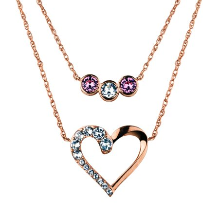 Flush Plate (14K Flash Rose Gold Plate Layered Pink Crystal & Open Heart Crystal Necklace 16+2/18+2 )