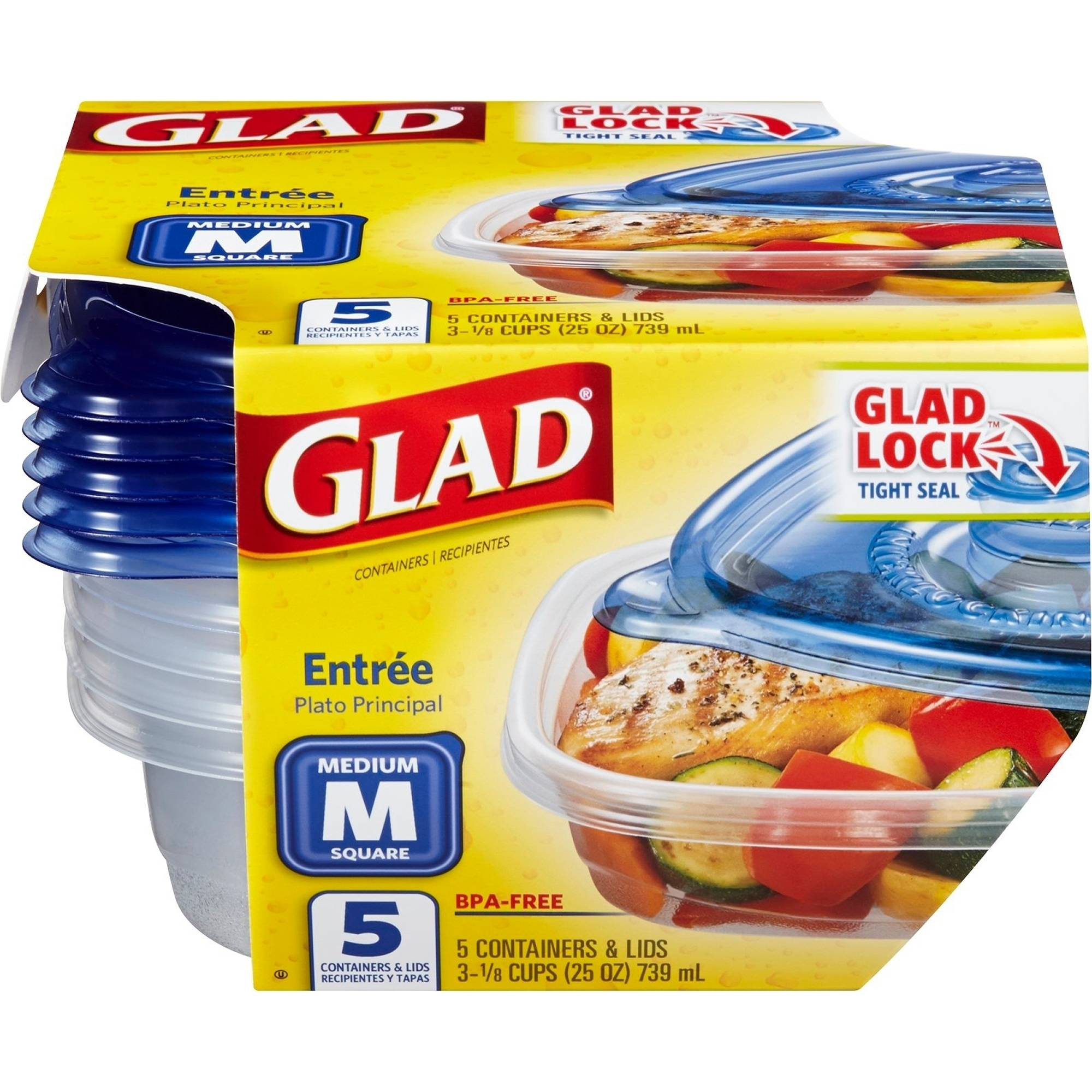 Glad Food Storage Containers, Entree, 25 Ounce, 5 Count, BPA Free