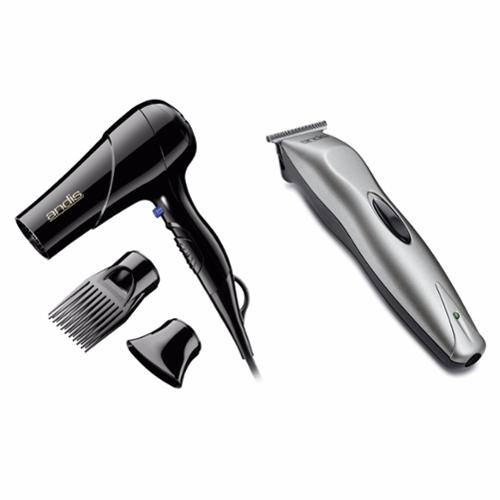 Andis 1875 Watt Hair Blow Dryer w/ Comb & Nozzle Attachments & 14pc Beard Trimmer
