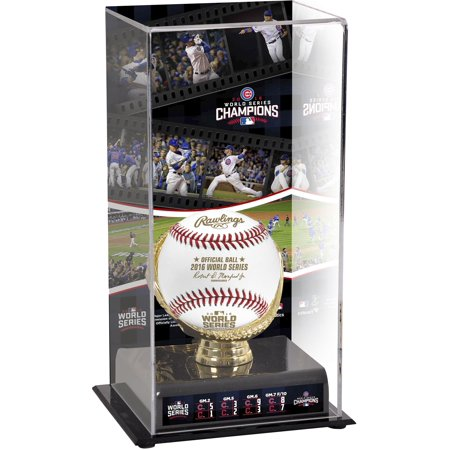 Chicago Cubs 2016 MLB World Series Champions Gold Glove Display Case with (Mlb Logo Baseball Display Case)