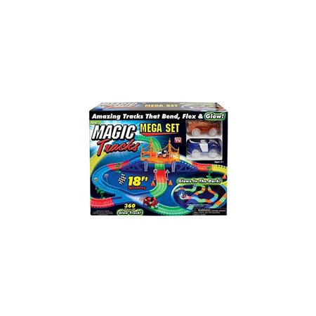 Magic Tracks Mega Set with RED & BLUE Car | As Seen on TV | 360 Piece Glowing 18 Track Set