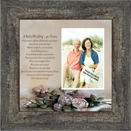 Ruby Anniversary, Personalized Picture Frame for 40th Wedding Anniversary, 10x10 6776