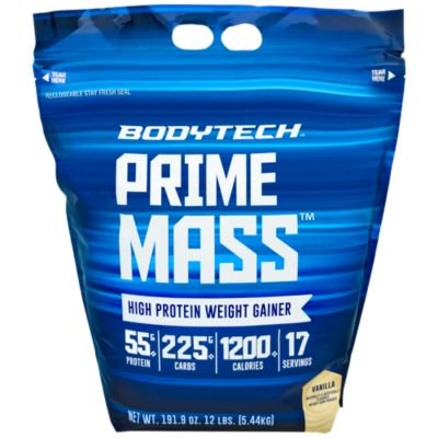 BodyTech Prime Mass  High Proetin Weight Gainer  With 55 Grams of Protein per Serving to Support Muscle Growth  Performance Blend of Creatine, Glutamine  BCAA's  Vanilla (12
