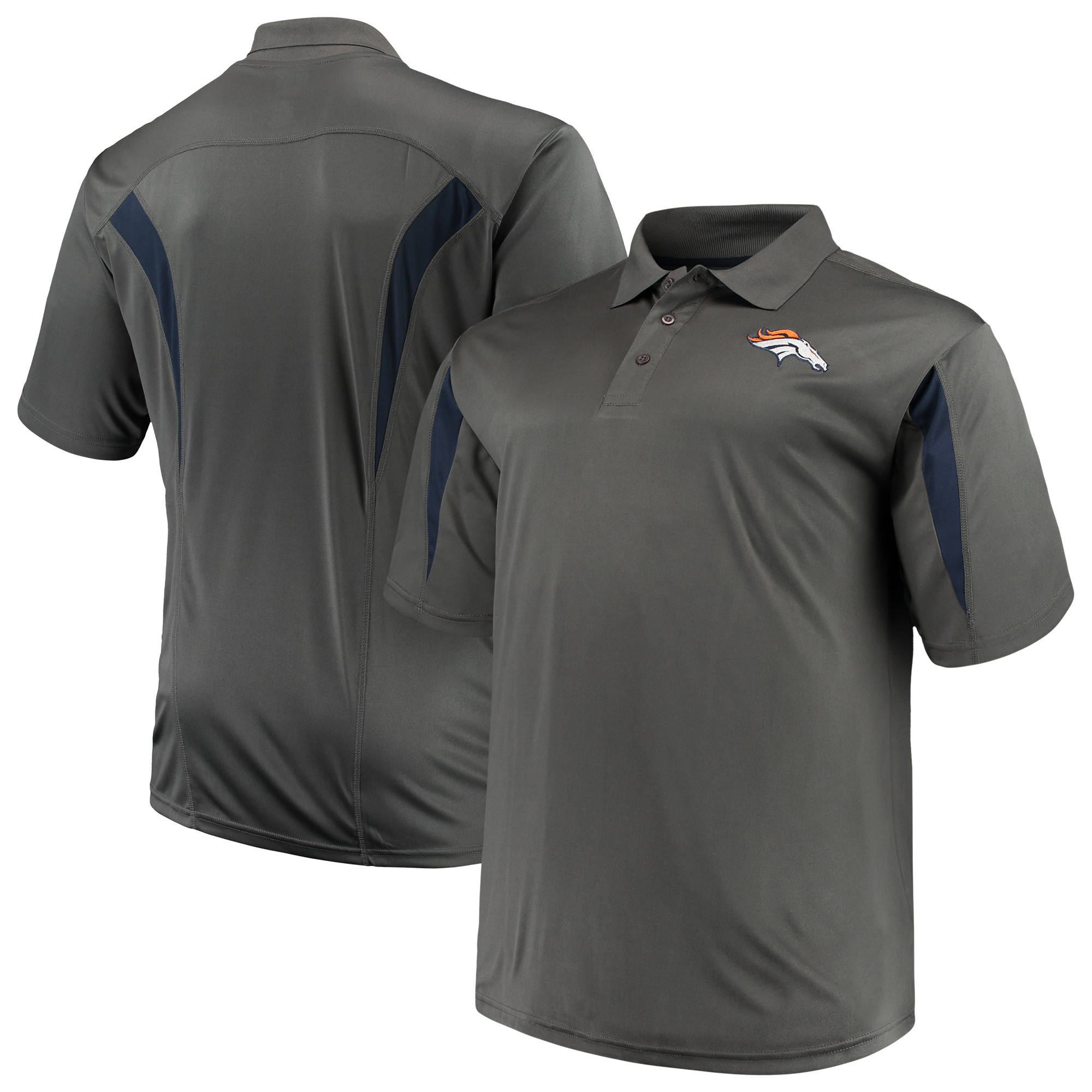 Men's Majestic Charcoal Denver Broncos Big & Tall Pieced Polo