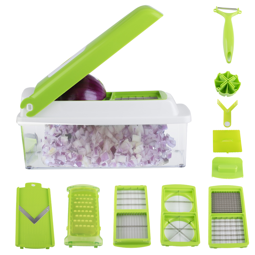10Pcs Vegetable Chopper Slicer Dicer Food Chopper Cutter & Grater Set, Interchangeable Stainless Steel Blades, Heavy Duty Multi Chopper Fruit Chopper & Onion Chopper Dicer Kitchen Cutter Peeler