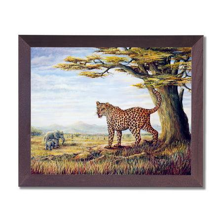 African Elephants Leopard Cat Outdoor Wall Picture Cherry Framed Art Print