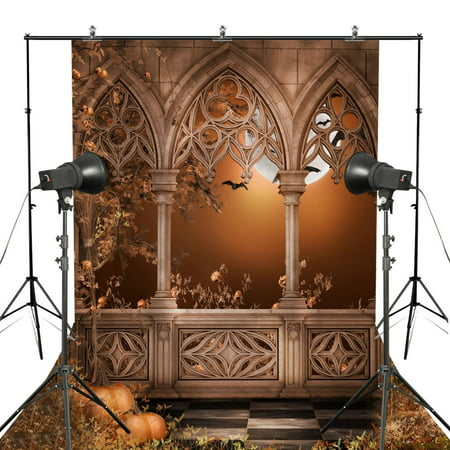 HelloDecor Polyster 5x7ft Stone Ruins Castle Pumpkin Halloween Theme Photography Background Full Moon Backdrop - Halloween Streamer Backdrop