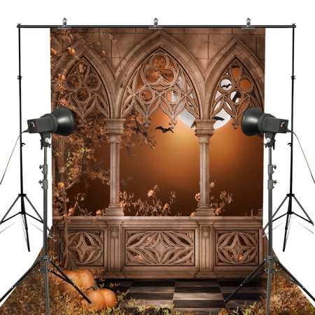 HelloDecor Polyster 5x7ft Stone Ruins Castle Pumpkin Halloween Theme Photography Background Full Moon Backdrop - Halloween Screen Backgrounds