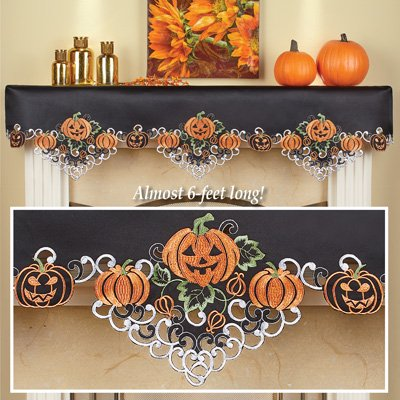 Indoor Halloween Decorations (Collections Etc Halloween Pumpkins Mantle Scarf for Livingroom, Embroidered Festive Party Indoor)