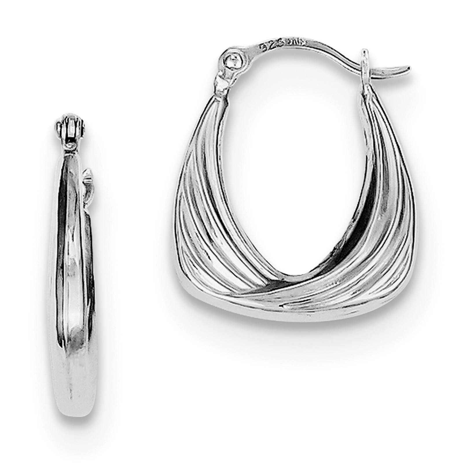 925 Sterling Silver Rhodium Plated Hollow Hinged Post 2.5mm x 15mm Hoop Earrings