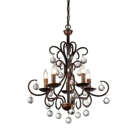 Grace Antique Bronze and Crystal Drop Curved 5-light Chandelier (Carved Antique)