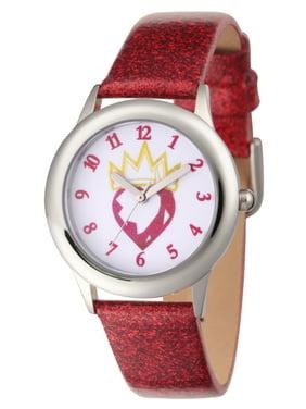 Descendants 2 Evie Icon Girls' Stainless Steel Watch, Red Glitter Strap