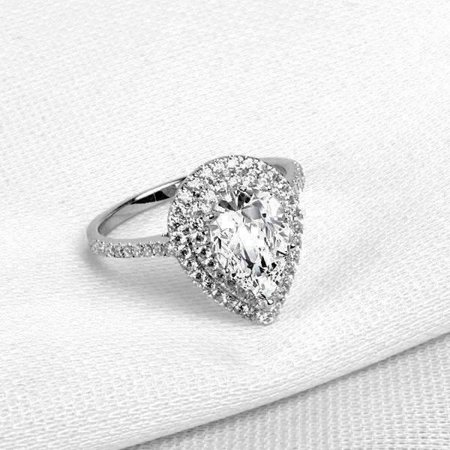 Aurora 2CT Pear Cut Double Pav Halo IOBI Cultured Diamond Ring 7.5 2ct Tw Diamond Setting