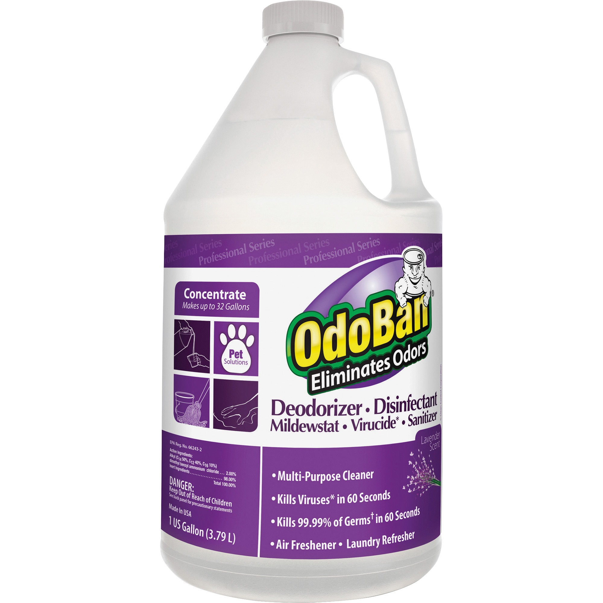 OdoBan, ODO911162G4, Deodorizer Disinfectant Cleaner Concentrate, 1 Each, Purple