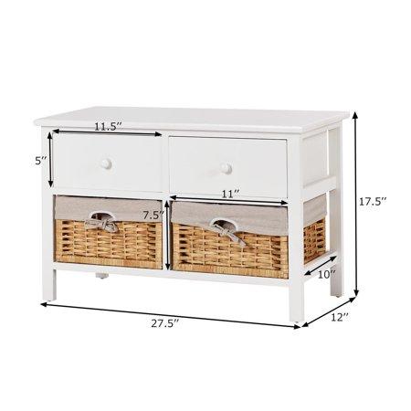 Costway Wood Storage Bench Organizer Shelf w/ 2 Drawer 2 Baskets - image 1 of 10