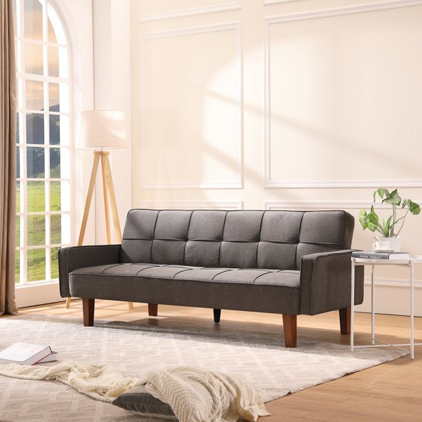 Sofa Sleeper, SEGMART Modern Fabric Sofa Bed with Armrest, Convertible Futon Couches and Sofas w/Wood Legs, Small Spaces Recliner Couch Living Room Furniture Loveseat Sofa, Light Gray, LL124